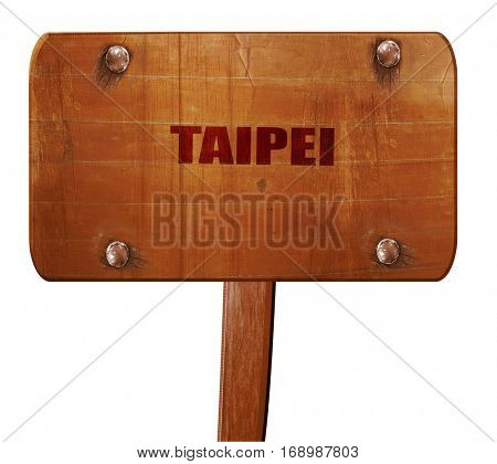 taipei, 3D rendering, text on wooden sign