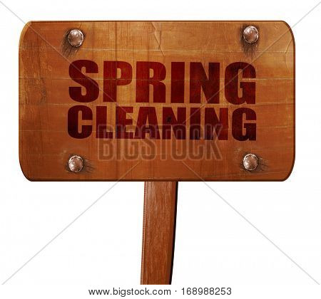 spring cleaning, 3D rendering, text on wooden sign