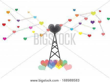 Antenna spread the love out of a colorful heart.