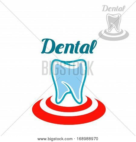 Dental icon or emblem with vector symbol of white tooth on red circle. Isolated sign or badge for tooth paste, mouthwash or dental floss treatment product packaging design, dentist clinic, stomatology or dental surgeon office