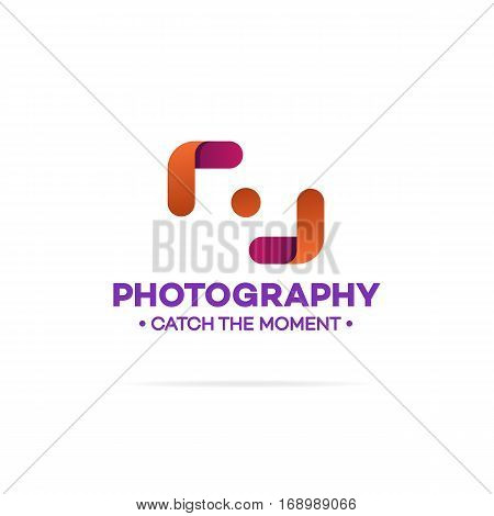 Photography logo orange and red color isolated on white background used for corporate identity photo studio, photoschooll, wedding photography. Vector Illustration