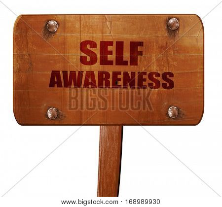 self awareness, 3D rendering, text on wooden sign