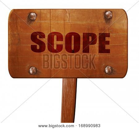scope, 3D rendering, text on wooden sign