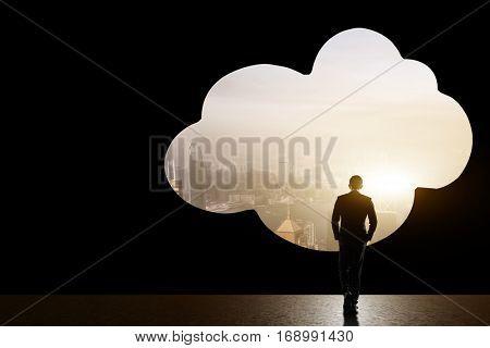 concept of cloud idea with man go toward the cloud