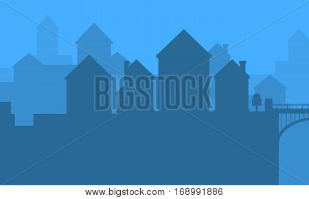 landscape of city silhouettes vector art collection stock