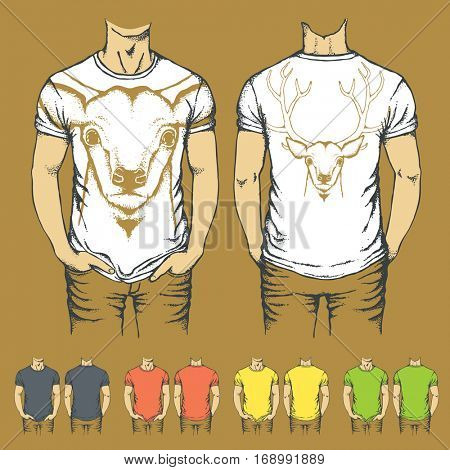 Vector t-shirts templates with prints of reindeer. Top and back side of t-shirts with deer