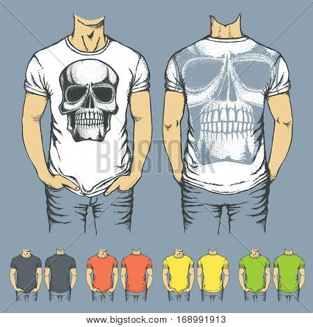 Vector t-shirts templates with prints of human skull. Top and back side of t-shirts