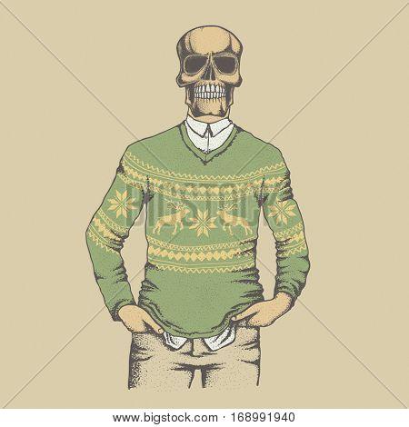 Vector skull in sweater illustration concept. Hand drawn human skull