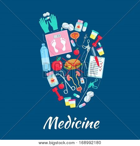Medicine poster with healthy heart symbol of medications and dieting items. Medical diet pills, weigh scales and fast food cheeseburger, tests and fitness sport barbells, apple fruit and catheter syringe in bladder, surgery and therapy instruments