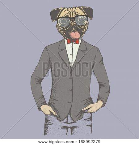 Pug dog vector illustration concept. Pug dog in human suit