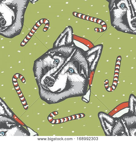 Vector dog concept. Siberian husky dog in Christmas Santa hat vector illustration. Seamless pattern