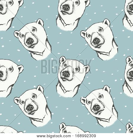 Polar bear vector illustration. Seamless pattern with white bear