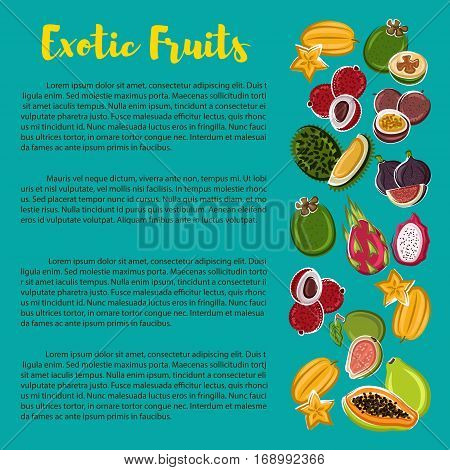 Fruit nutrition facts poster with information on exotic tropical fruits. Vector carambola, figs, grapefruit and lichee, tamarillo and durian, dragonfruit and passionfruit, papaya and feijoa, mangosteen, tangerine, guava and rambutan