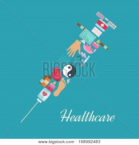 Acupuncture poster with syringe symbol of oriental alternative and traditional Chinese health needle medicine, Yin Yang symbol and lotus, aromatherapy sticks and candle, healthy points on human heart, hand and foot, stethoscope and cardiogram