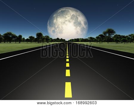 Empty road and moon  3D Render  Some elements provided courtesy of NASA