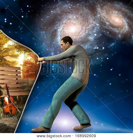 man pulls back curtain showing peaceful scene with violin  3D Render  Some elements provided courtesy of NASA