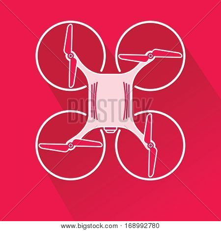 Modern Quad copter drone with camera top view. Thin line linear illustration