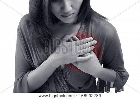 Heart attack symptom isolate on white background