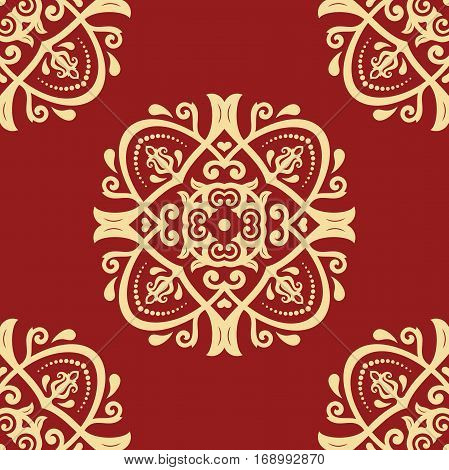 Oriental vector classic red and golden pattern. Seamless abstract background with repeating elements. Orient background
