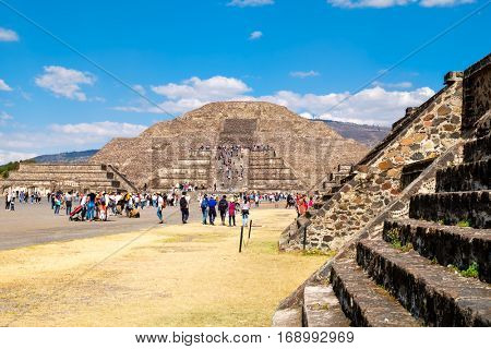 TEOTIHUACAN,MEXICO - DECEMBER 26,2016 : Tourists at the Pyramids in Teotihuacan, a major archaeological site in Mexico