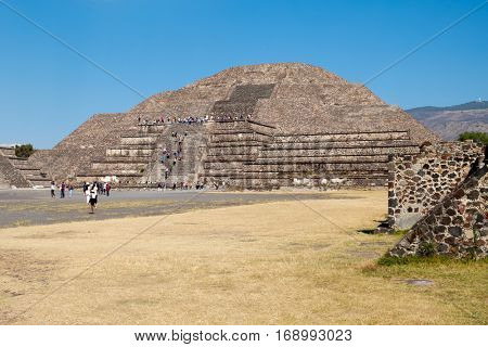 The Pyramid of the Moon at Teotihuacan, a major archaeological site near Mexico City