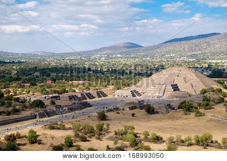 The Pyramid of the Moon  and the Avenue of the Dead at Teotihuacan in Mexico from the Pyramid of the Sun