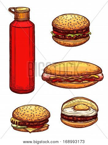 Fast food sketch icons. Vector isolated hamburger with meaty cutlet and sesame bun, cheeseburger with fried egg and cheese, burger with fresh lettuce and hot dog sandwich with curry sausage, mustard and ketchup bottle
