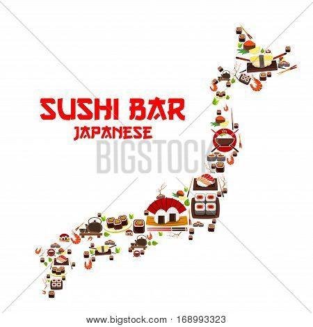 Japanese seafood or sushi bar in shape of Japan map. Vector sashimi tempura and sea food fish, grilled shrimps, steamed rice and salmon caviar or tuna fish, noodle seaweed miso soup, wasabi, soy sauce and chopsticks for oriental cuisine restaurant