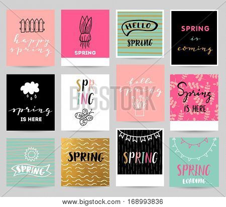 Spring illustration with lettering elements