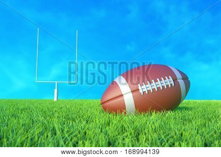 American Football on the Field. 3D illustration