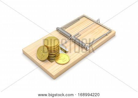 Mousetrap with Coins, isolated on white. 3D illustration