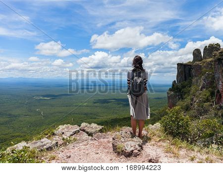 boundless expanse. view from mountains. Person girl standing on top. Santiago. Chiquitania Bolivia Stock photo