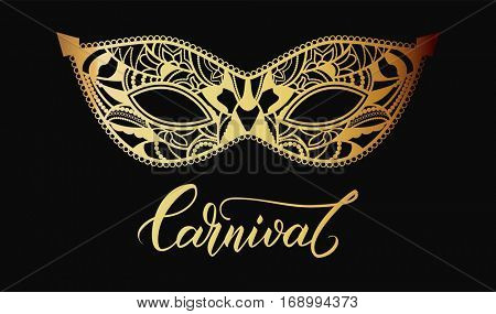 Mardi Gras Carnival mask of lace golden. Mono line style. Vector Illustration Background.