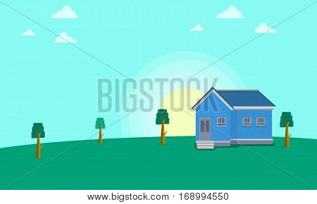 Illustration vector of house landscape collection stock