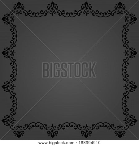 Classic vector square frame with arabesques and orient elements. Abstract ornament with place for text. Vintage dark pattern