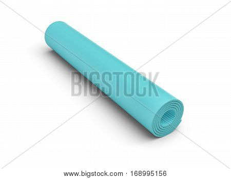 3d rendering of a blue rolled up yoga mat on white background. Fitness and health. Diet and sports. Stretching routines.