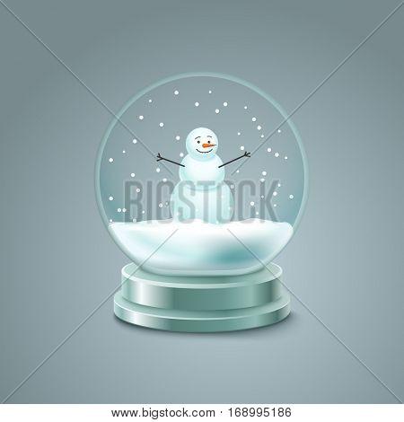 Crystal ball with snowman vector illustration. Christmas snow ball illustration