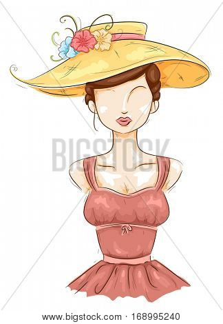 Illustration of a Female Mannequin in a Salmon Bustier Dress and a Large Yellow Sun Hat Adorned with Flowers