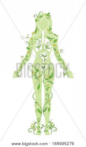 Illustration Featuring the Outline of the Body of a Girl Covered in Vines