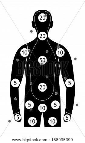 human silhouette gun shooting paper targets vector