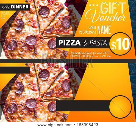 Restaurant Gift voucher flyer template with delicious taste pepperoni cheese pizza and space for your text.
