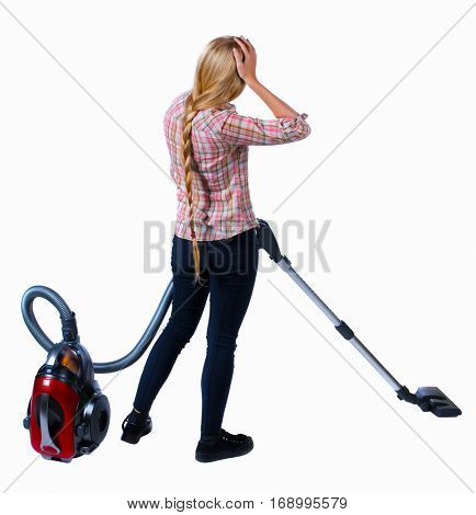 Rear view of a woman with a vacuum cleaner. She is busy cleaning. Rear view people collection.  backside view of person.  Isolated over white background. Girl in plaid shirt holding his head wearily.