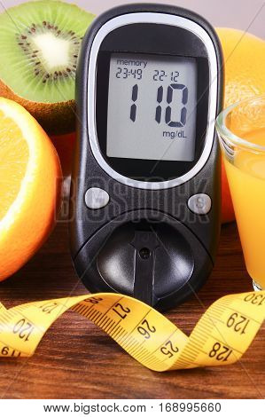 Glucometer, Fruits, Juice And Tape Measure, Diabetes Lifestyles And Nutrition