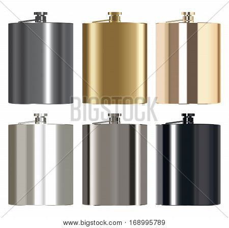 real metallic whiskey stainless steel bottle vector