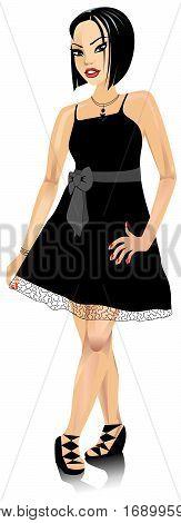 Asianwomanblackbowdress