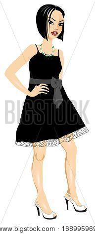 Asianwomanblackwhitedress
