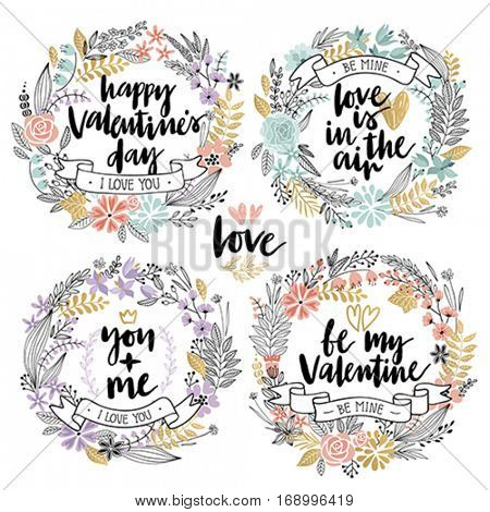 Valentine`s Day Callygraphic Wreath Set - hand drawn Vector illustration.