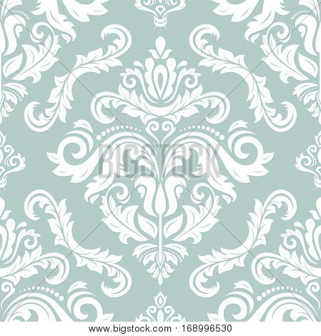 Seamless classic vector white pattern. Traditional orient ornament. Classic vintage green background