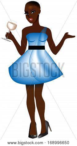 Blackwomanltbluedress