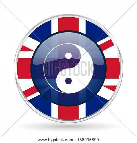 Ying yang british design vector icon. Round silver metallic border button with Great Britain flag in eps 10.